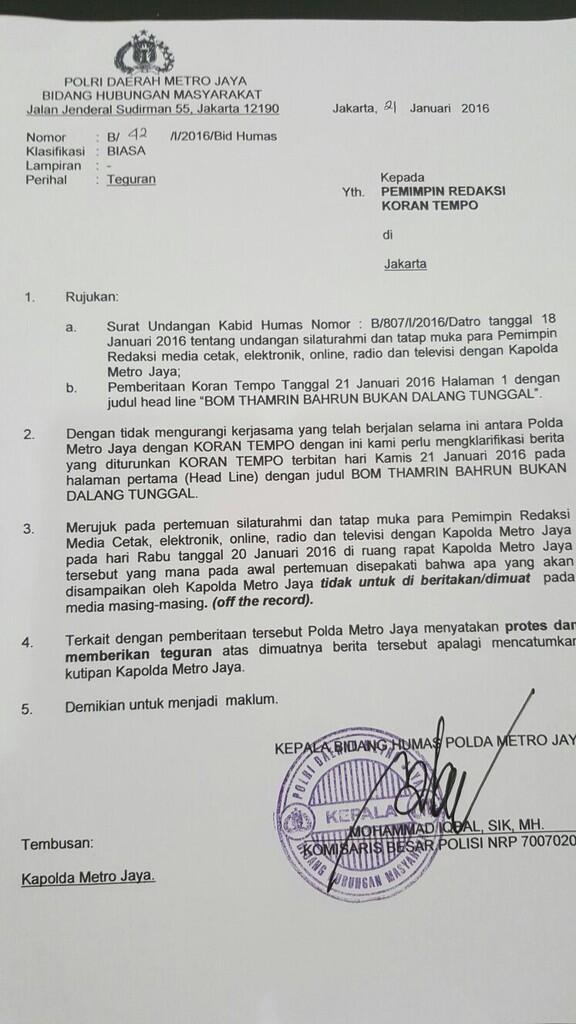 Koran Tempo Diprotes Polisi Karena Beritakan Info Rahasia