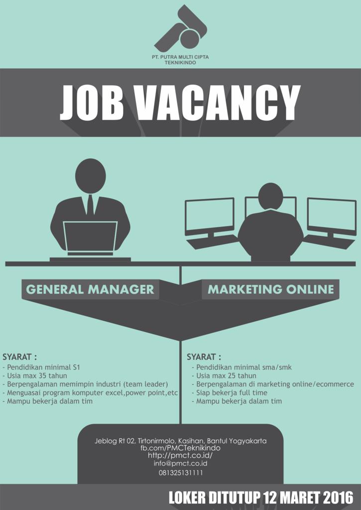 Lowongan General Manager dan Online Marketing