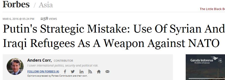 [RUS] Analyst Forbes : Putin's Strategic Mistake