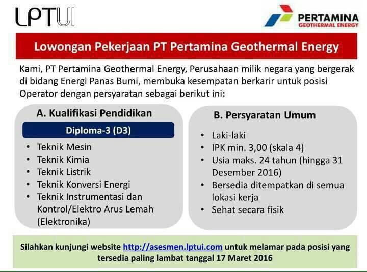 All about Rekruitmen Pertamina Geothermal Energy (PGE) 2016