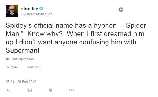 Hyphen itu penting! Bukan SPIDERMAN, tapi SPIDER-MAN!