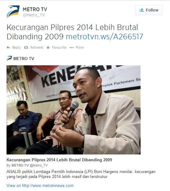 CURANG!!!! Kecurangan Pilpres 2014 lebih brutal dibanding 2009