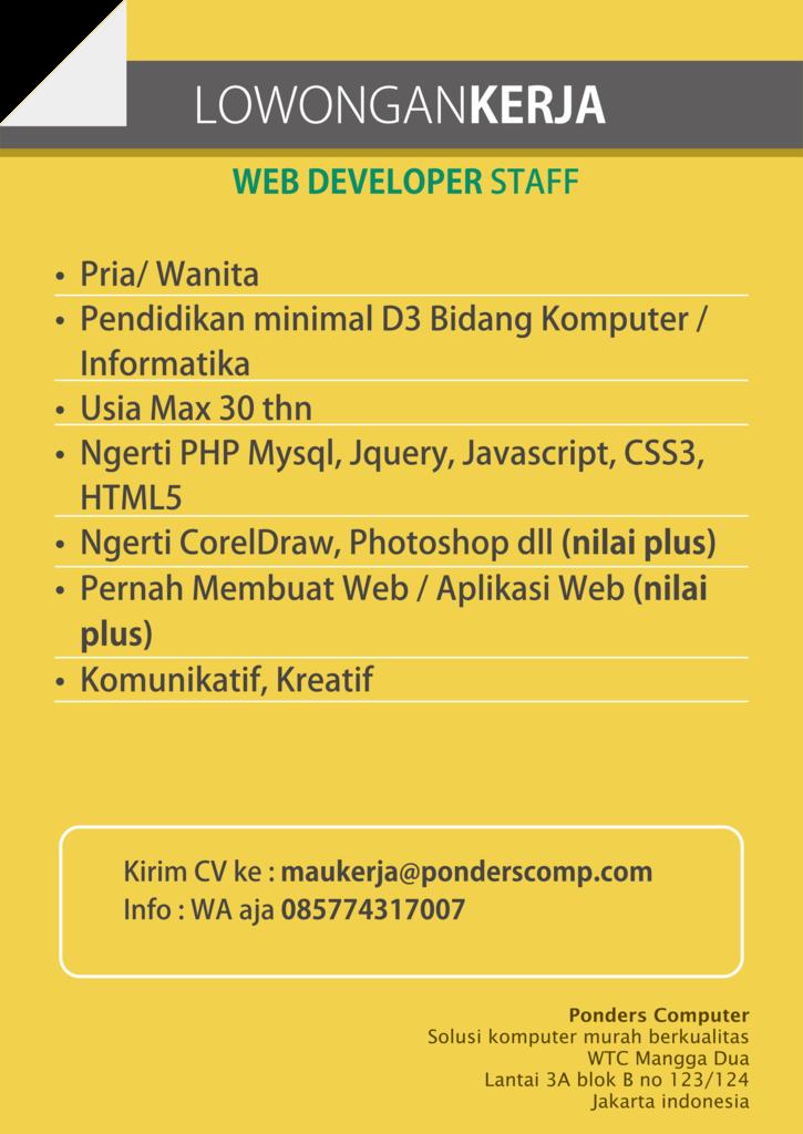 Lowongan Kerja Web Developer Staff
