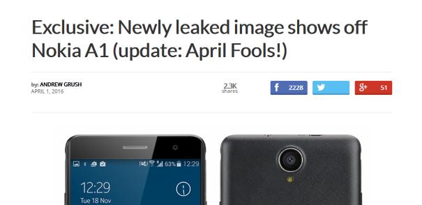 Beredar Bocoran Nokia A1, Lupakan! Bocoran itu Hanya Lelucon April Mop