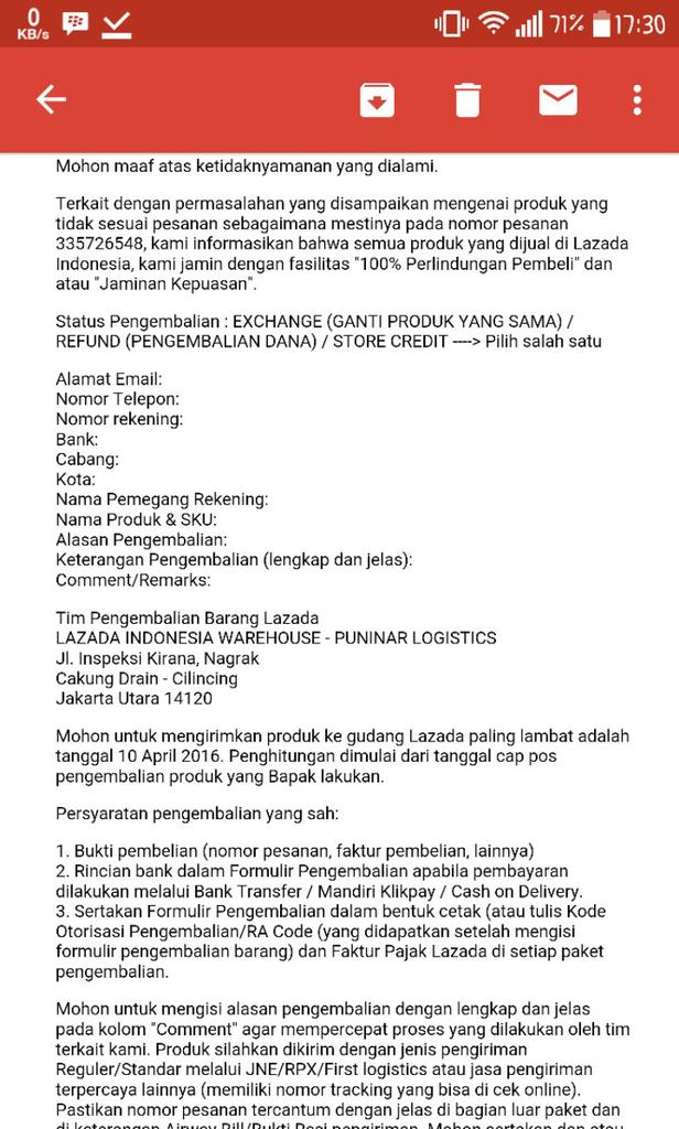 LAZADA SALAH KIRIM BARANG LAGI !!!