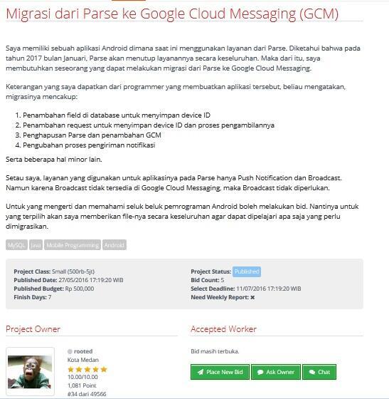 [LOWONGAN FREELANCER] Migrasi dari Parse ke Google Cloud Messaging (GCM)