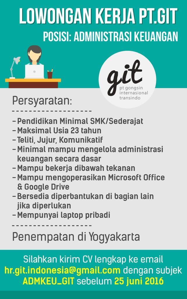 Lowongan Administrasi Keuangan, minimal pendidikan SMK, khusus di Yogyakarta
