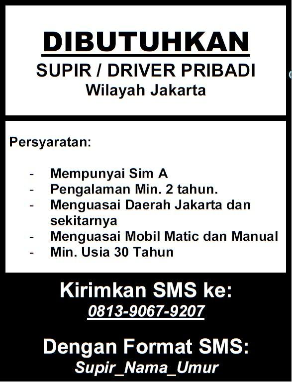 Lowongan Driver/Supir Pribadi Jakarta