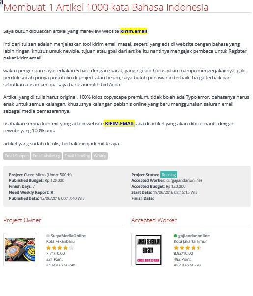 [LOWONGAN FREELANCER] Membuat 1 Artikel 1000 kata Bahasa Indonesia