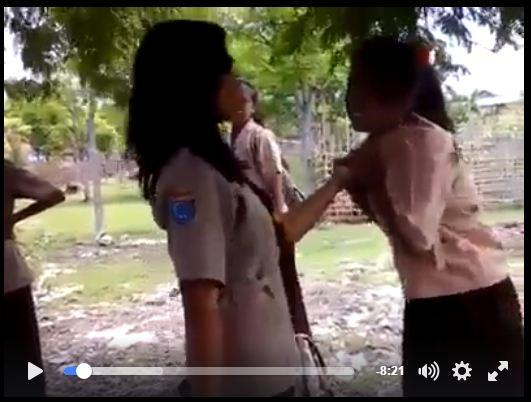 Video: Sekitar 2,6 Juta Tayang, Beredar Luas di Facebook Dua Siswi Berantem Adu Pukul