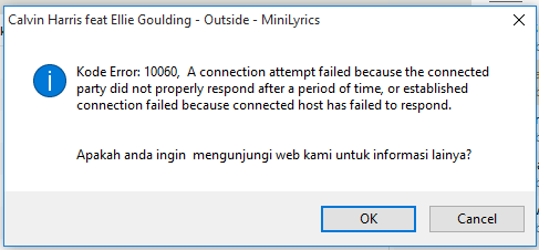 Ask : MiniLyrics error kode 10060