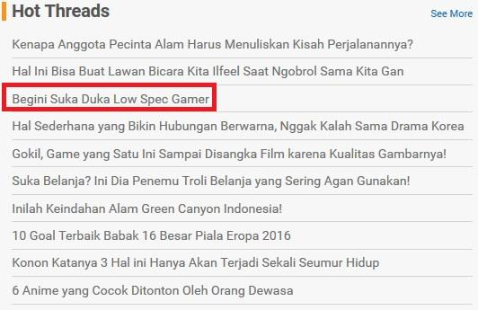 Suka Duka Low Spec Gamer
