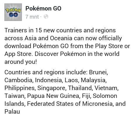 SELAMAT INDONESIA RESMI RILIS POKEMON GO !!