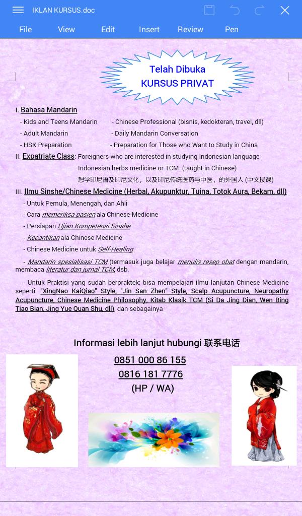 Kursus Mandarin, Sinology, Sinshe dan Akupuntur