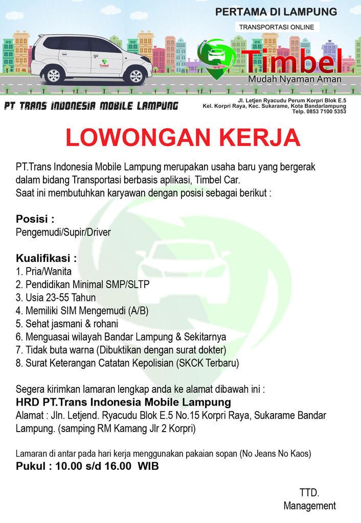 Lowongan Taksi Online Pertama di Lampung Timbel Car