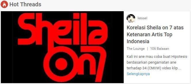 (HIPOTESIS) KORELASI SO7 ATAS KETENARAN ARTIS TOP INDONESIA *Sheilagank Merapat Gan