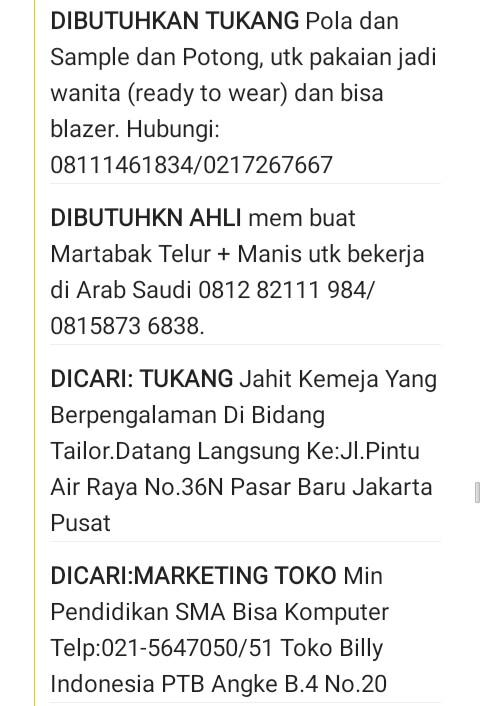 Aneka Info Loker Jakarta (Via Poskota)  e93a4413aa