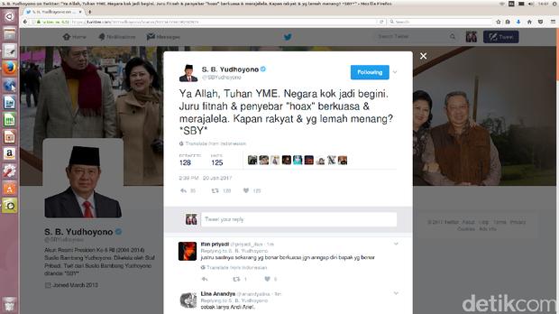 SBY: Ya Allah Negara Kok Jadi Begini, Penyebar Hoax Berkuasa Indah Mutiara Kami