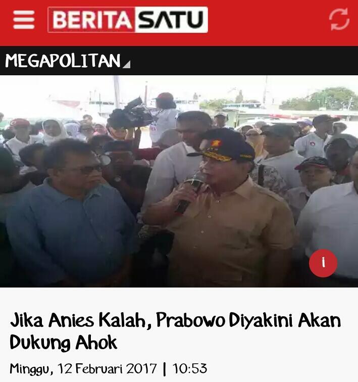 Jika Anies Kalah, Prabowo Diyakini Akan Dukung Ahok