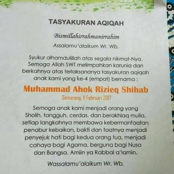 Liberal Kesesatan Atas Nama Agama: Bayi Asal Semarang Diberi Nama Ahok & Rizieq Shihab