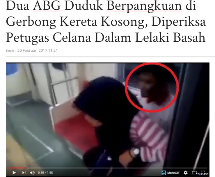 2 ABG Duduk Berpangkuan di Gerbong Kereta Kosong Diperiksa Ptgs Celana Dalam