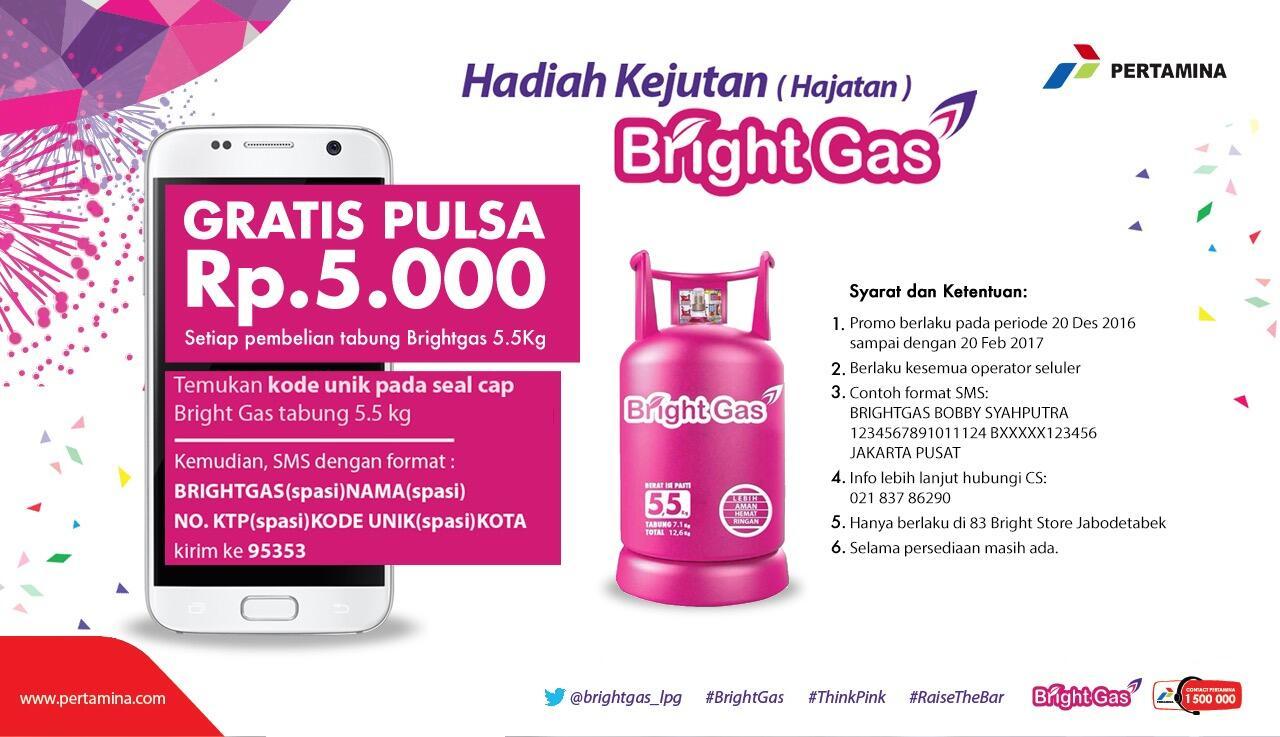 Hadiah Kejutan Bright Gas, Beli Bright Gas 5,5Kg Dapat Pulsa