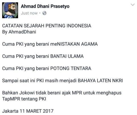 Ahmad Dhani Beberkan Sejarah PKI, Sindir Presiden Jokowi