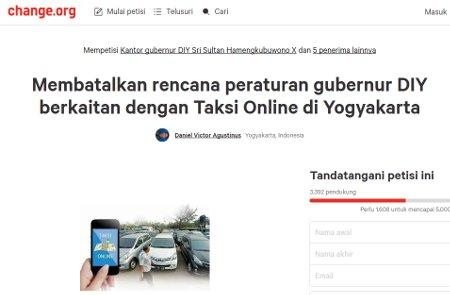 Taksi Online Bikin Petisi. Ini Kata Sultan Yogya