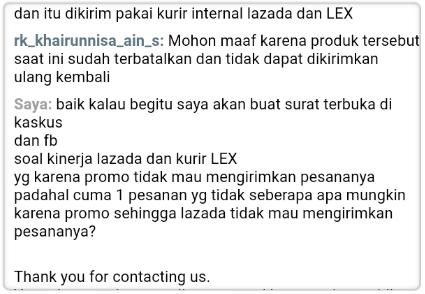 Kecewa Lazada dan kurir LEX Promo Abal-abal Anniversary