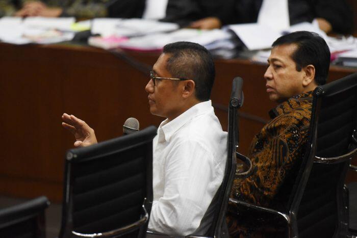 Kesaksian Novanto dan Anas Urbaningrum di sidang e-KTP