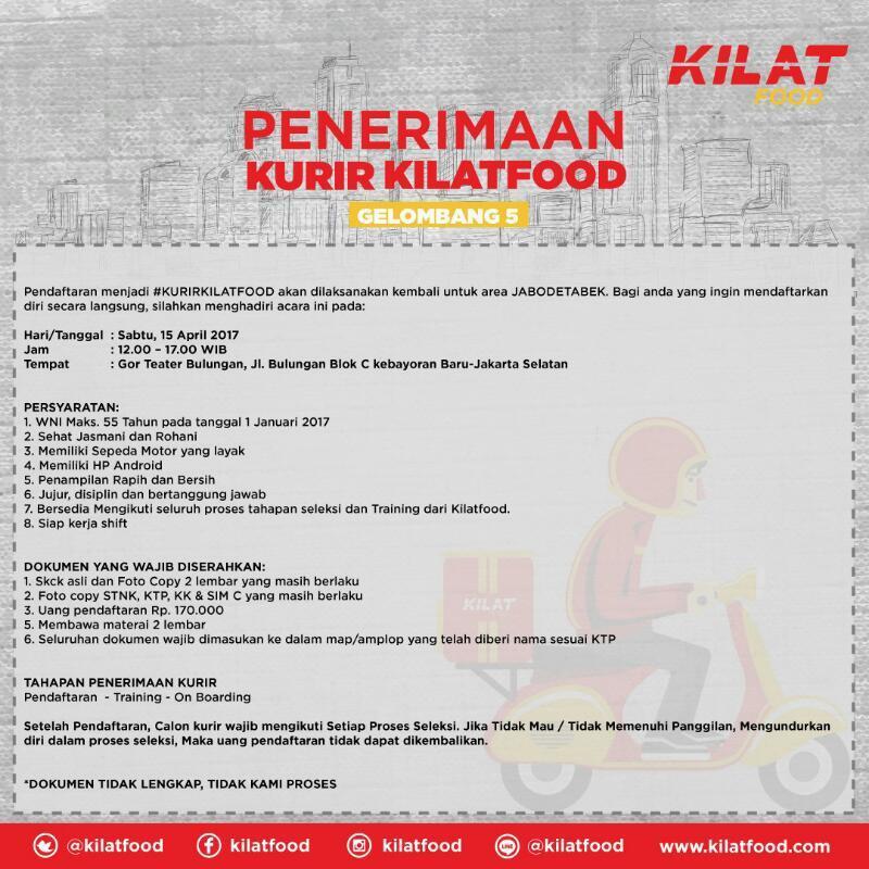 Lowongan Kurir Kilat Food Indonesia