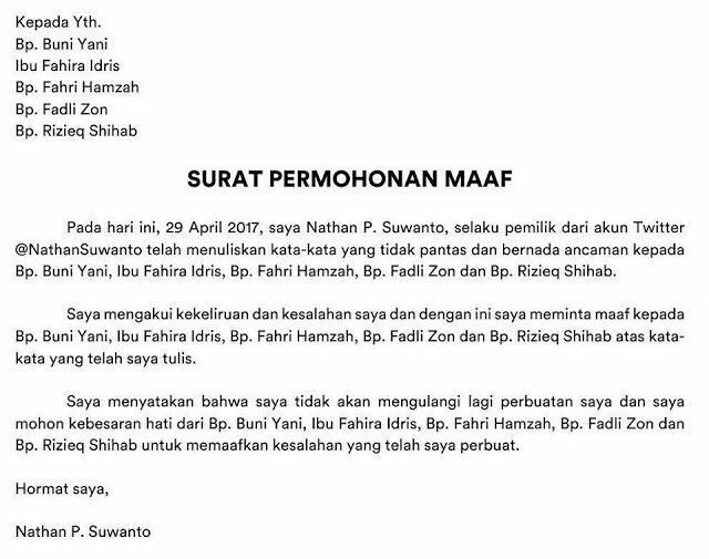 Permintaan maaf Nathan Suwanto