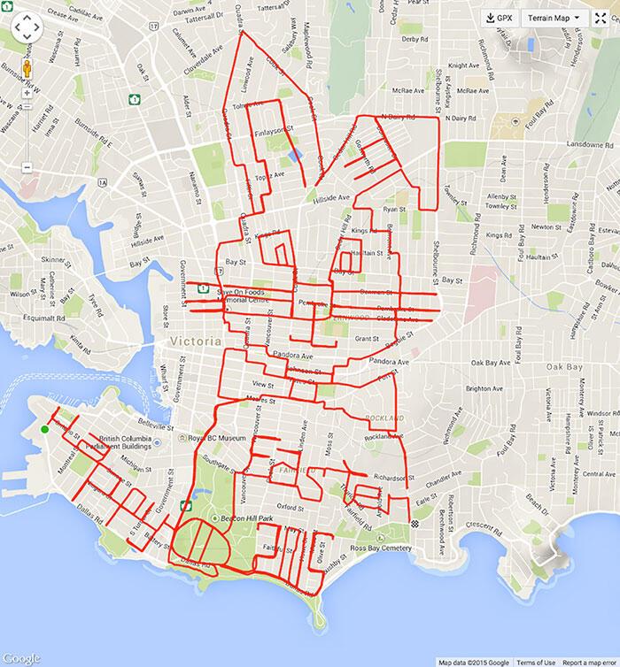 Seniman ini Menggambar Rute GPS di Google Map dengan Bersepeda
