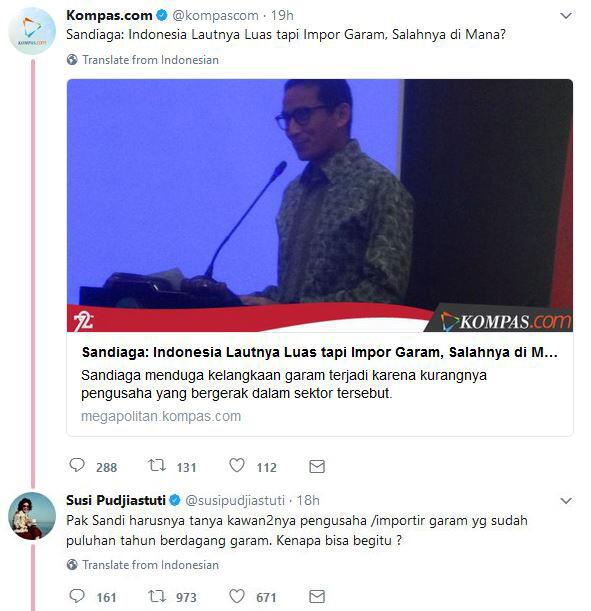 Menteri Susi Sentil Komentar Sandiaga Uno Soal Import
