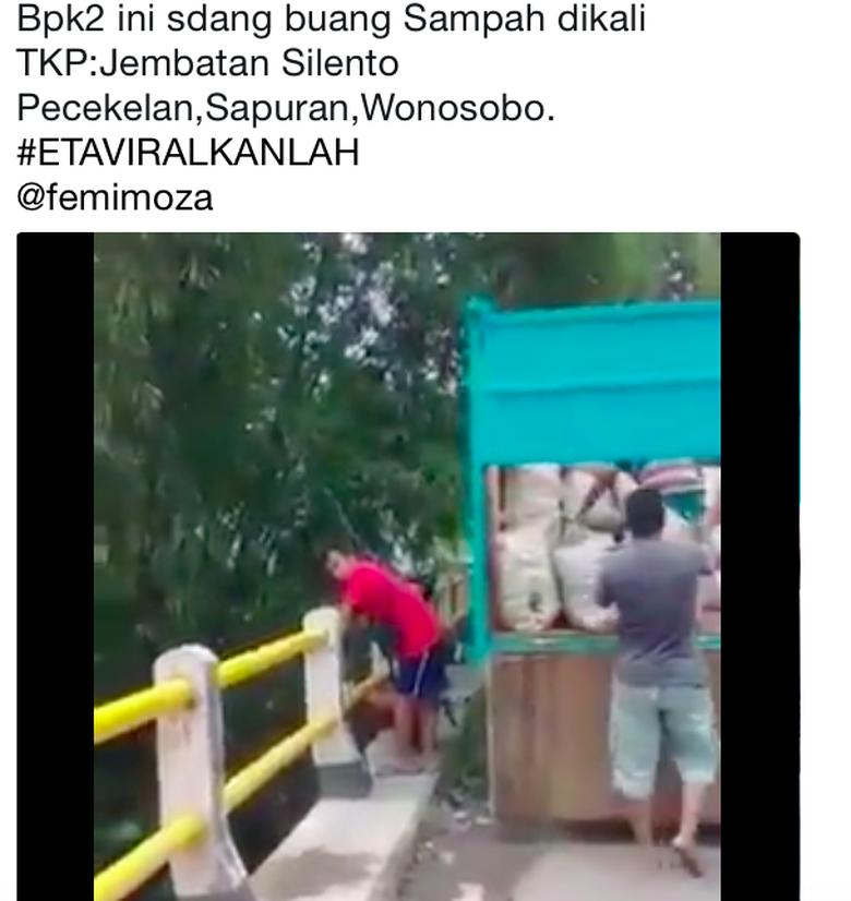 Viral! Begini Aksi Pembuang Sampah 1 Truk ke Sungai Wonosobo