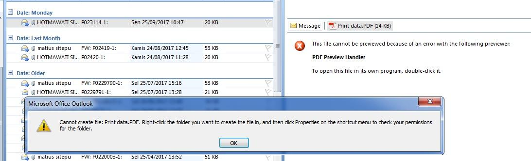 outlook error pdf preview handler for vista