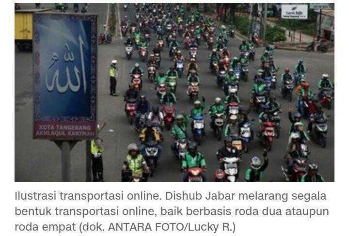 Dishub Jabar Resmi Larang Transportasi Online Beroperasi