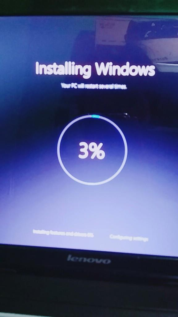 reset windows 10, install stuck di 3% | KASKUS