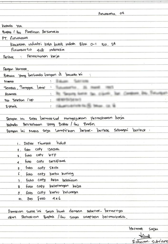 format surat lamaran kerja