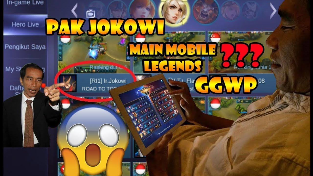 Presiden jokowi main mobile legends ggwp masuk top hero layla global