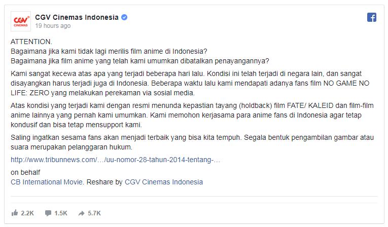 Ada Fans Rekam Movie Anime di Bioskop, CGV Tunda Penayangan Film Anime Lain