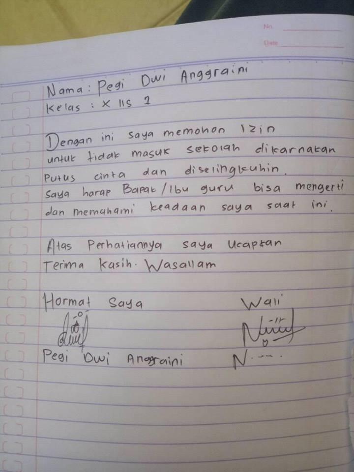 8 Surat Izin Tak Masuk Sekolah Ini Ssinya Bikin Ketawa
