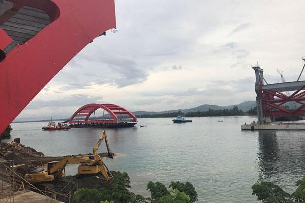 Bentang Utama Pertama Jembatan Holtekamp Tiba Lebih Cepat di Jayapura