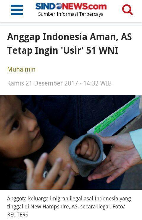 Anggap Indonesia Aman, AS Tetap Ingin 'Usir' 51 WNI
