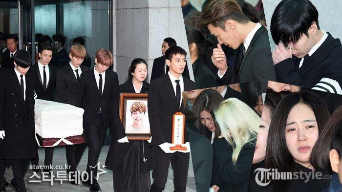 Tangis Pilu Artis-artis SM Town Mengantar Jonghyun SHINee ke Peristirahatan Terakhir