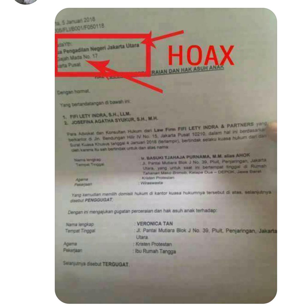 Surat Gugatan Cerai Ke Vero Sudah Ditandatangani Ahok Page
