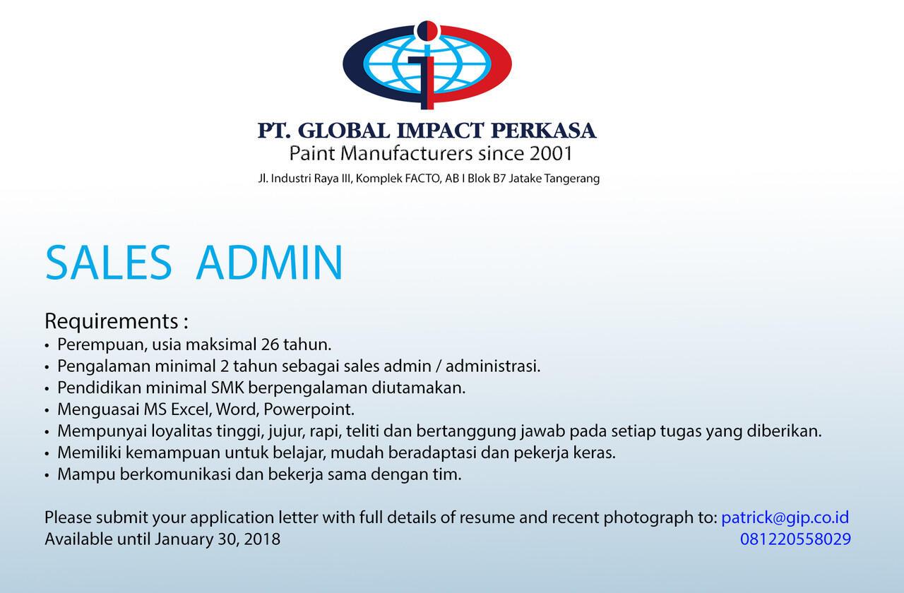 [Jatake, Tangerang] Lowongan Sales Admin