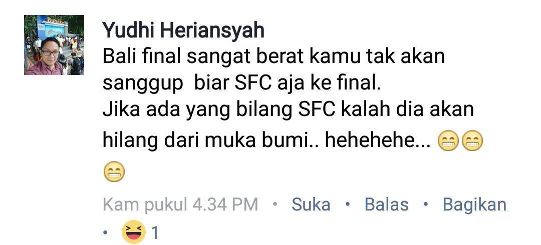 Komentar Lucu Para Suporter SFC jelang Laganya Kemarin