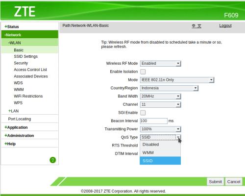 Cara setting WMM QOS ZTE F609 | KASKUS
