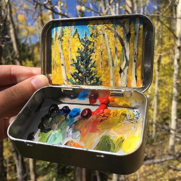 Unik, Lukisan Landscape Ini Menggunakan Kaleng Altoids